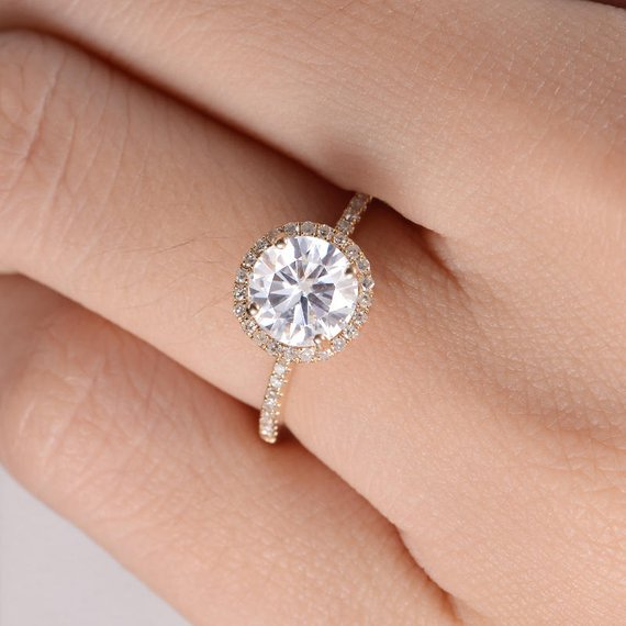 18K Moissanite Engagement Ring Halo Diamond Wedding Ring Yellow Gold Anniversary Gift Pave Eternity Dainty Bridal Ring Promise Multistone Ring