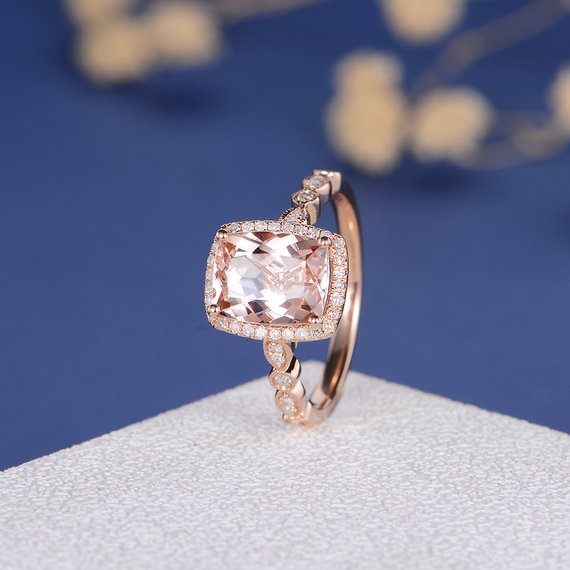 18k Morganite Engagement Ring Rose Gold Art Deco Antique Diamond Bridal Promise Anniversary Women Everyday Milgrain Jewelry Elongate Cushion Cut