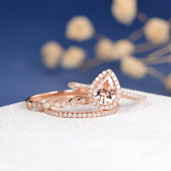 18k Pear Shaped Engagement Ring Set Rose Gold Morganite Ring Art Deco Wedding Band Women HALF Eternity Antique Bridal Set Retro Peat Cut 3pcs