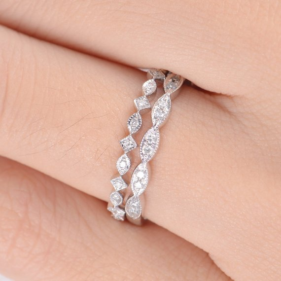 18K White Gold Wedding Band Set Unique Bands Diamond Stacking Bands Art Deco Rings for Women Antique Band Half Eternity Retro Promise Gift 2pcs DJ229
