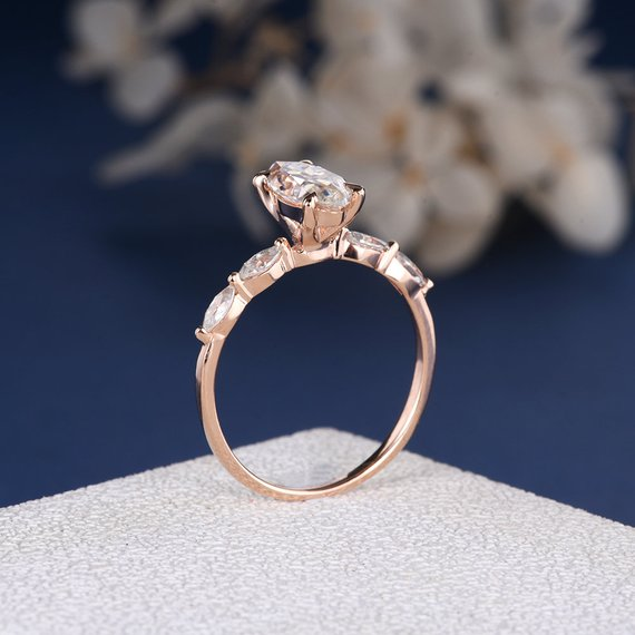 18K Unique Marquise Moissanite Engagement Ring Half Eternity Band Antique Rose Gold Personal Custom Claw Prong Art Deco Anniversary Solitaire