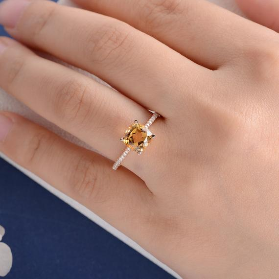 18K Cushion Cut Citrine Ring Yellow Gold Engagement Ring Solitaire Wedding Bridal Diamond Ring Half Eternity Multistone November Birthstone Ring DJ589