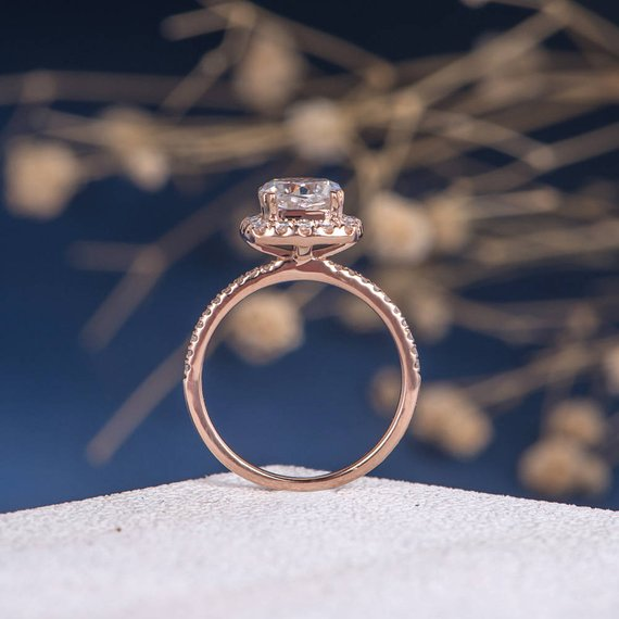 18K Cushion Cut Moissanite Engagement Ring Rose Gold Antique Bridal Unique Wedding Women Retro Moissanite Halo Anniversary Engraving Promise