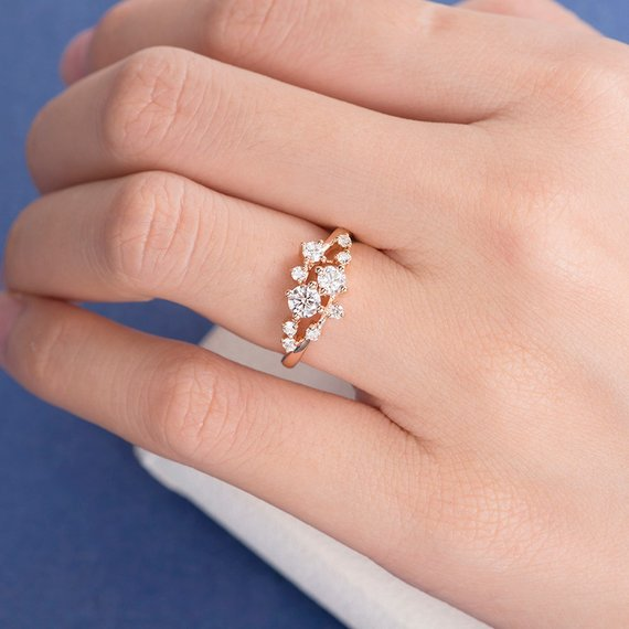 18K Unique Diamond Twig Ring Cluster Ring Gold Wedding Band Women Closer Gap Stacking Band Snowflake Dainty Promise Star Anniversary Flower Mini DJ306
