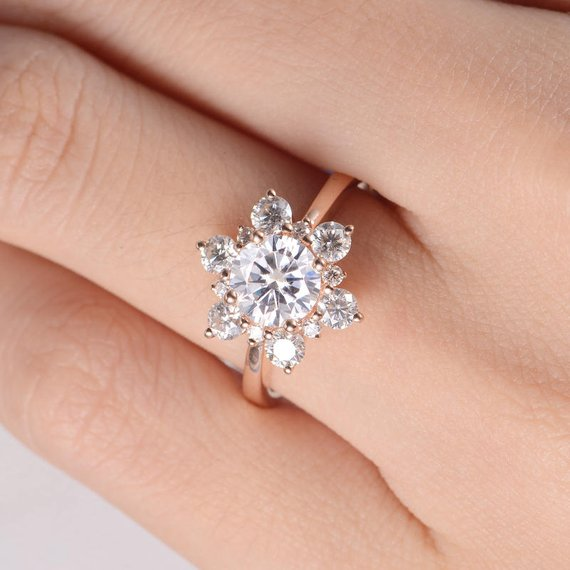 18K Unique Moissanite Engagement Ring Rose Gold Flower Snowflake Cluster Art Deco Wedding Women Antique Bridal Anniversary Engraving Star Floral