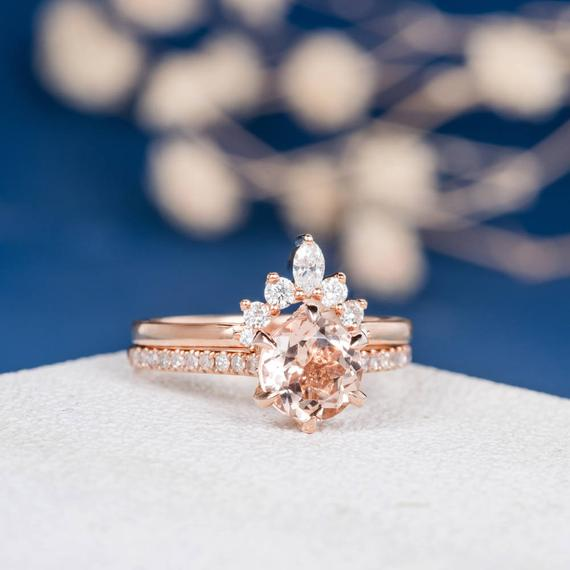 18K Gold Unique Morganite Engagement Ring Bridal Set
