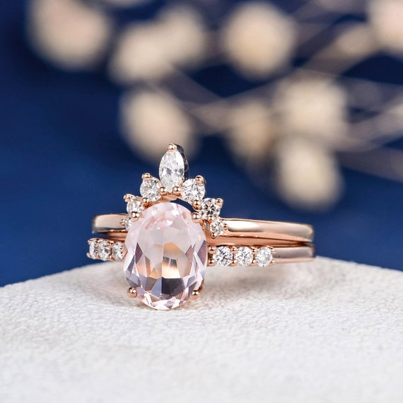 18K Gold Oval Cut Pink Morganite Engagement Ring Set Unique Wedding Band 2pcs