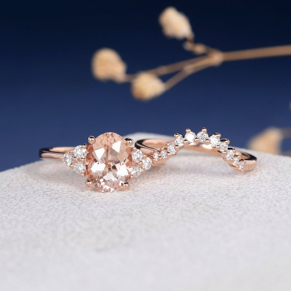 18k Oval Cut Cluster Gold Peachy Morganite Engagement Ring Wedding Set 2pcs