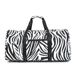 "22"" Gym Duffel Bag - Zebra with Black Trim"