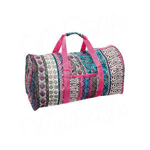 "22"" Gym Duffel Bag - Boho with Fuchsia Trim"