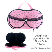 Load image into Gallery viewer, Bra and Lingerie Storage Organizer Carrying Case [#01-Light Pink with Black Dots]