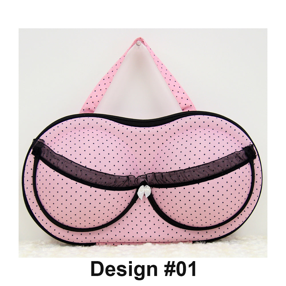 Bra and Lingerie Storage Organizer Carrying Case [#01-Light Pink with Black Dots]
