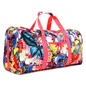 "22"" Gym Duffel Bag - Multi Butterfly with Pink Trim"