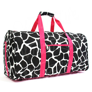 "22"" Gym Duffel Bag - Brown Giraffe with Pink Trim"