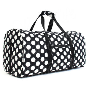 "22"" Gym Duffel Bag - Large Black White Dots"