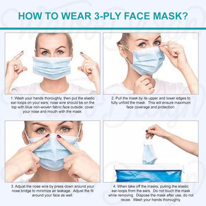 Disposable 3-Ply Ear-loop Protective Face Masks (100-pack)