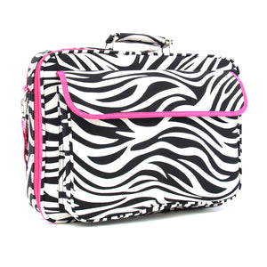 "17"" Laptop Briefcase Bag - Zebra with Fuchsia Trim"