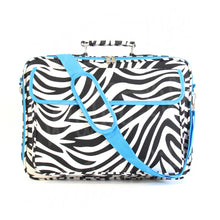 "Load image into Gallery viewer, 17"" Laptop Briefcase Bag - Zebra with Blue Trim"