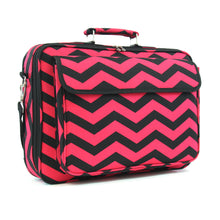 "Load image into Gallery viewer, 17"" Laptop Briefcase Bag - Fuchsia and Black Zig Zag"