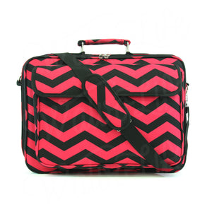 "17"" Laptop Briefcase Bag - Fuchsia and Black Zig Zag"