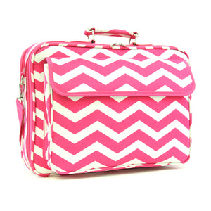 "17"" Laptop Briefcase Bag - Fuchsia and White Zig Zag"