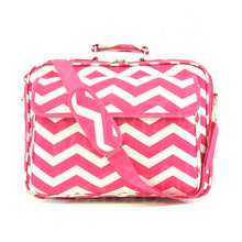 "Load image into Gallery viewer, 17"" Laptop Briefcase Bag - Fuchsia and White Zig Zag"