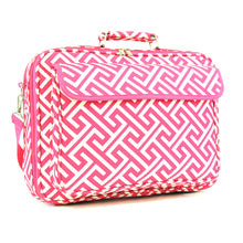 "Load image into Gallery viewer, 17"" Laptop Briefcase Bag - Fuchsia Greek Key"
