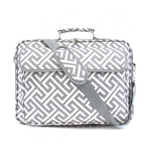 "Load image into Gallery viewer, 17"" Laptop Briefcase Bag - Grey Greek Key"