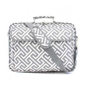 "17"" Laptop Briefcase Bag - Grey Greek Key"