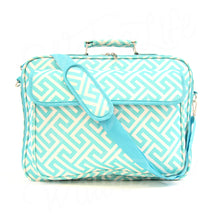 "Load image into Gallery viewer, 17"" Laptop Briefcase Bag - Blue Greek Key"