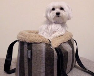RAYA - Stripe Linen Fleece Lined Dog Bag Carrier