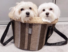 Load image into Gallery viewer, RAYA - Stripe Linen Fleece Lined Dog Bag Carrier