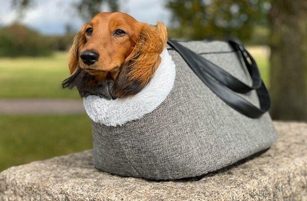 FLOYD - Grey Linen Fleece Dog Bag Carrier