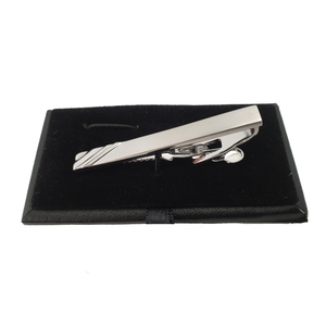 Cudworth Brushed Rhodium/anti Rhodium Tie Clip