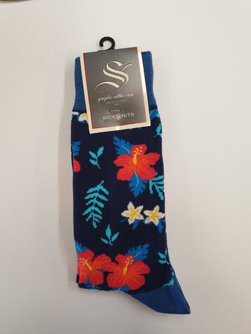 Red Hibiscus Floral Socks