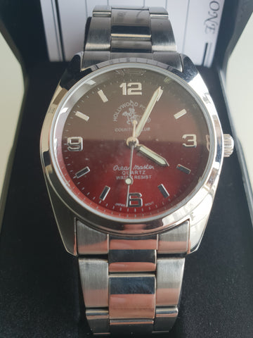 Hollywood Polo Mens Silver Stainless Wristwatch