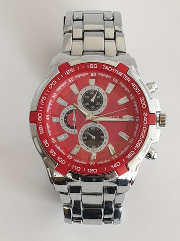 Curen Mens Wristwatch Red