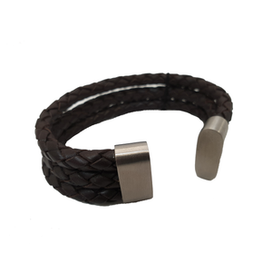 Cudworth Stainless Steel Leather/Brown Triple Leather Bracelet