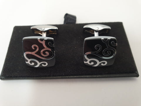 Black and Silver Tribal Design Cufflinks
