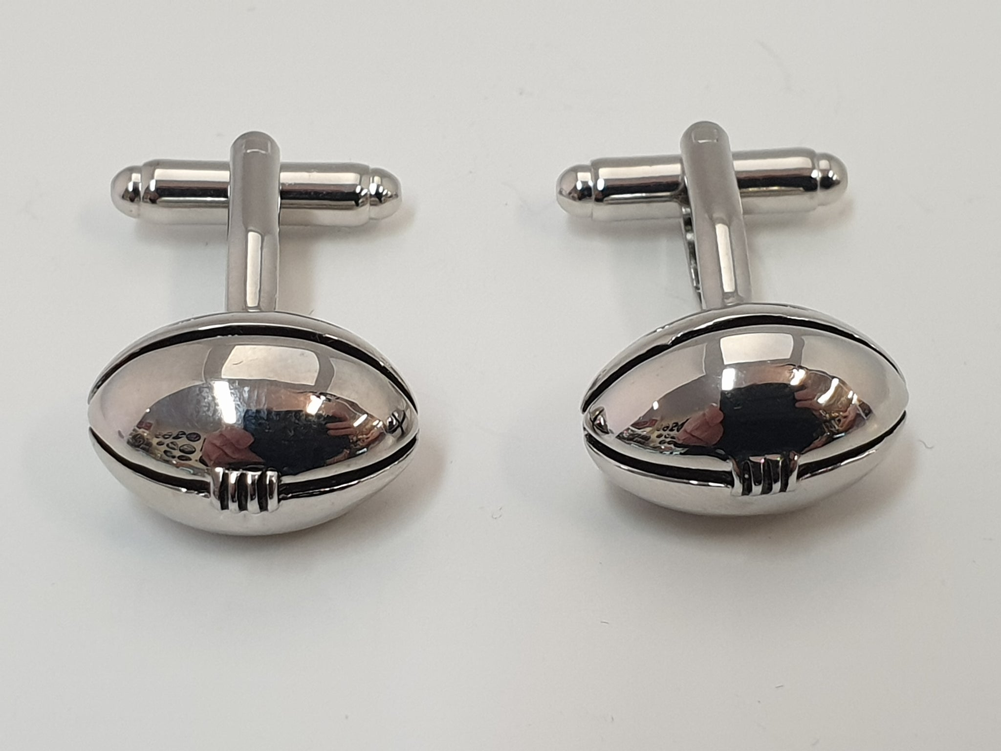Chrome Football Cufflink