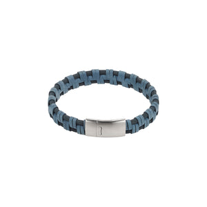 Cudworth Braided Blue Italian Leather Bracelet
