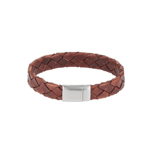Tobacco Italian Leather with Stainless Steel Bracelet