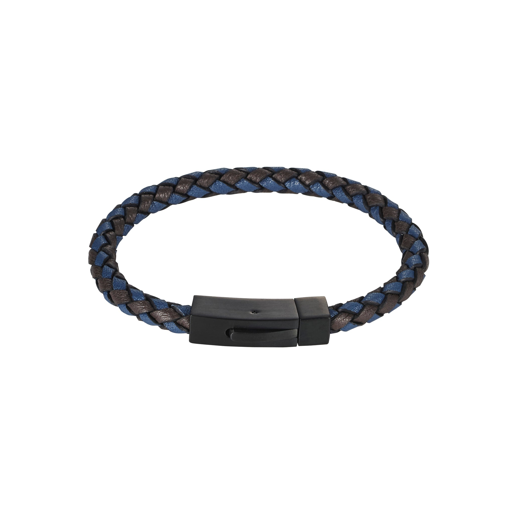 Cudworth Black and Blue Leather Bracelet