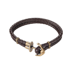 Cudworth IP Bronze Stainless and Brown Leather Bracelet