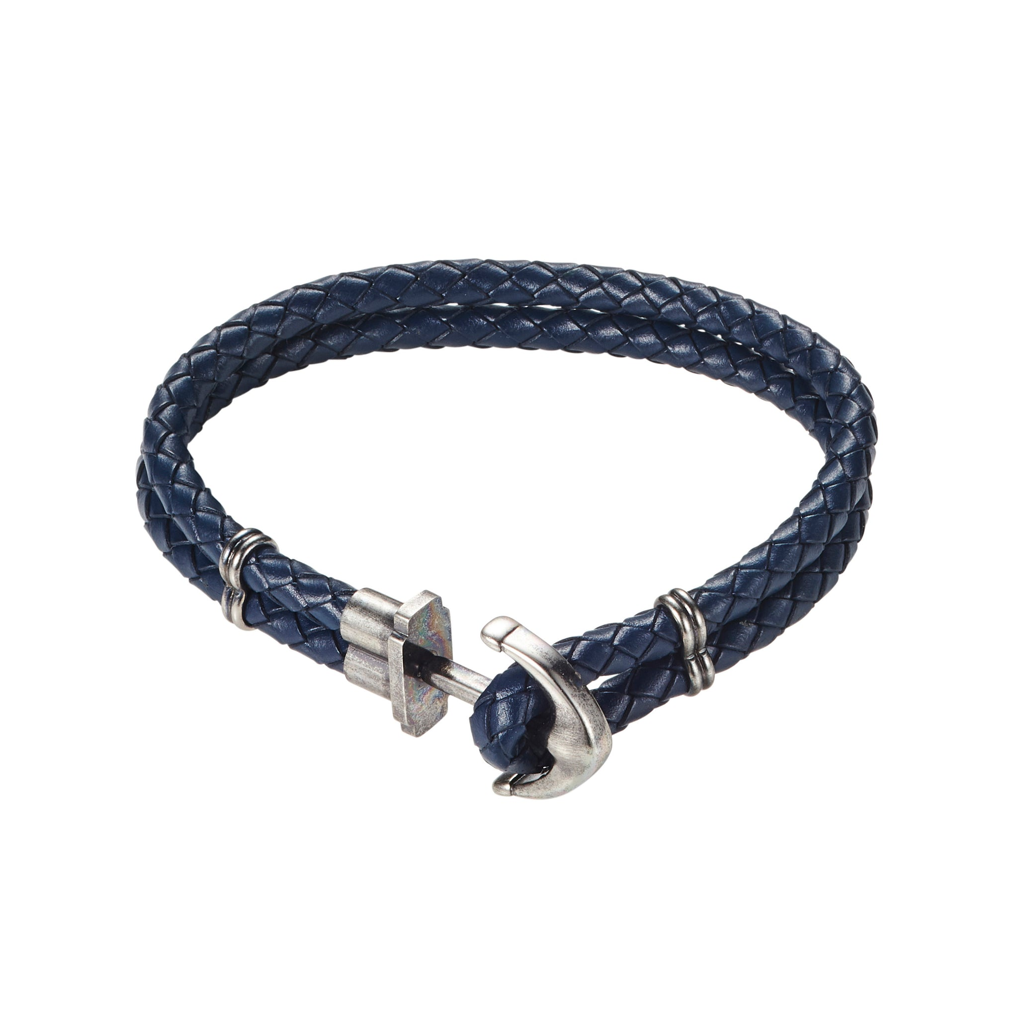 Cudworth Anchor Bracelet in Stainless Steel and Blue