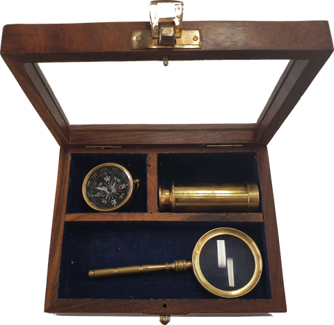 Brass Telescope Compass and Magnifying Glass