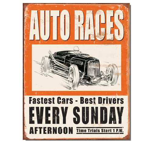Auto Races Tin Sign