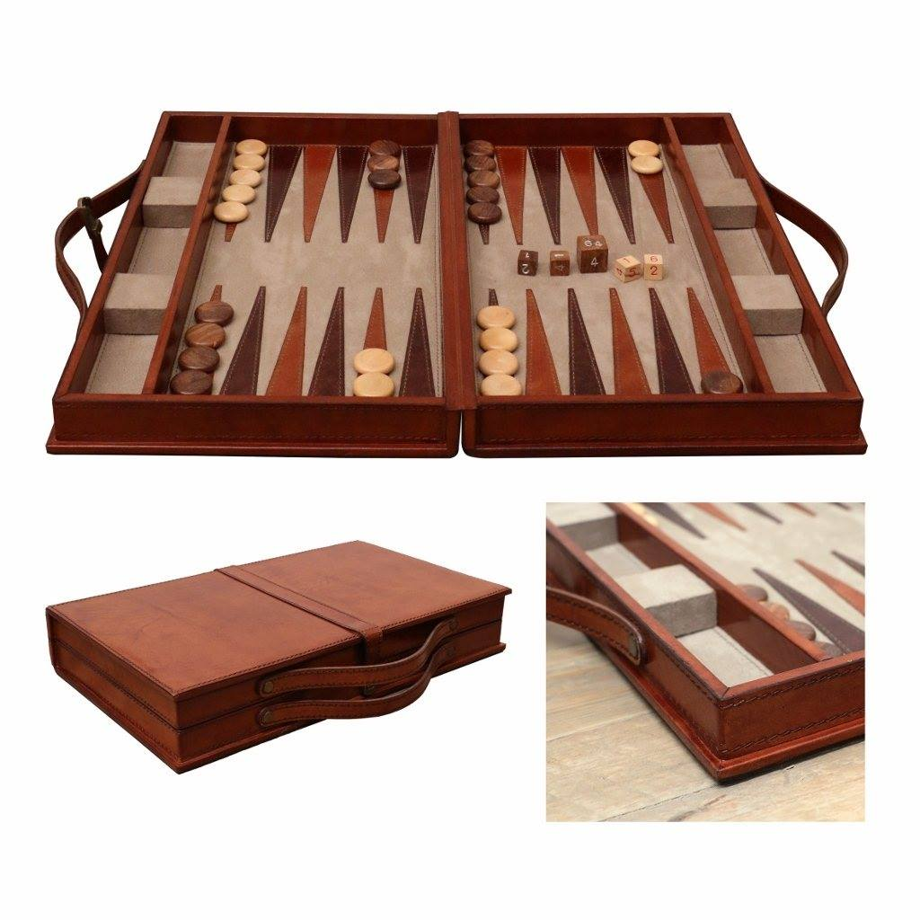 Backgammon Set Leather and Wood