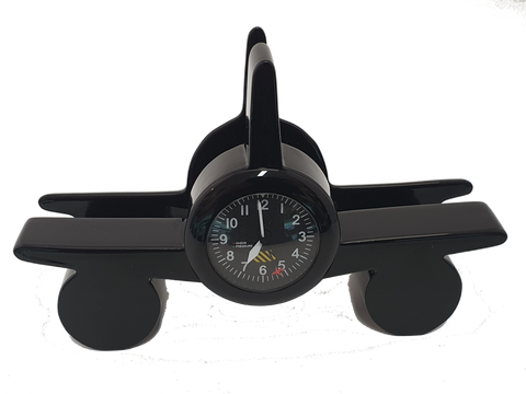 Black or Silver Aviation Card Holder Clock