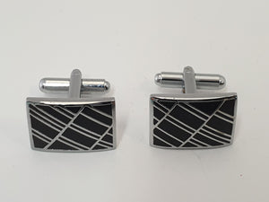 Oblong Black and Chrome Cufflinks
